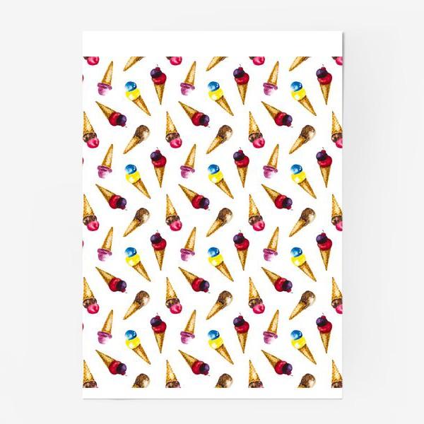 Постер «Фруктовое мороженое коллаж»