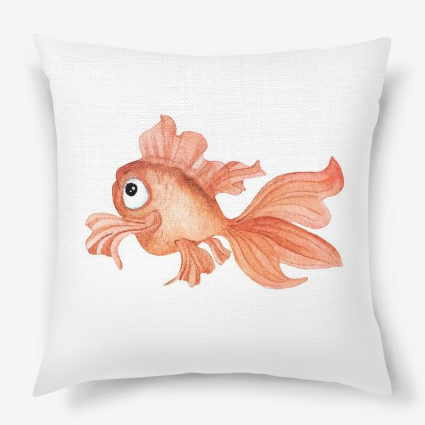Подушка «Watercolor illustration. Goldfish of orange color on a white background»