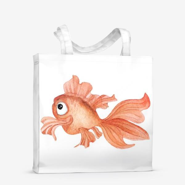 Сумка-шоппер «Watercolor illustration. Goldfish of orange color on a white background»