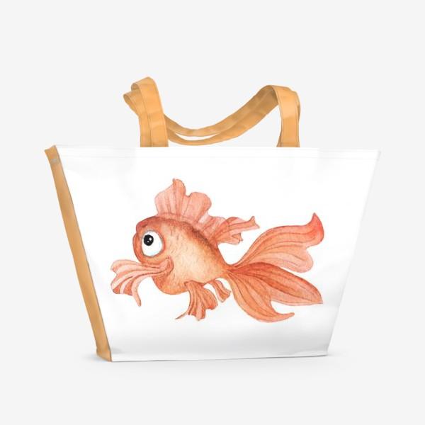 Пляжная сумка «Watercolor illustration. Goldfish of orange color on a white background»