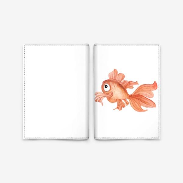 Обложка для паспорта «Watercolor illustration. Goldfish of orange color on a white background»