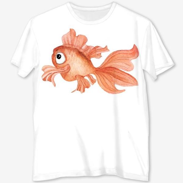 Футболка с полной запечаткой «Watercolor illustration. Goldfish of orange color on a white background»