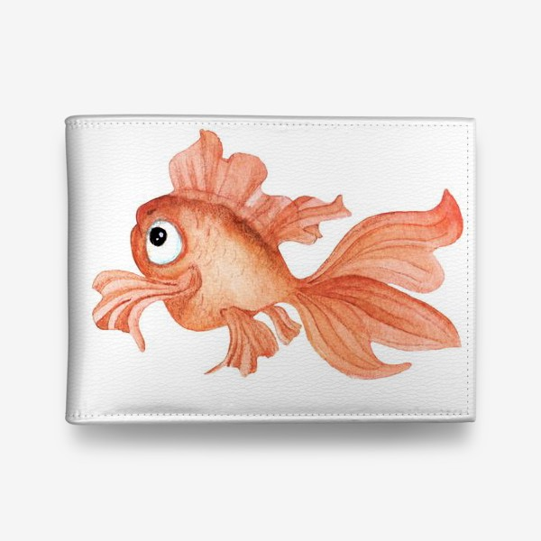 Кошелек «Watercolor illustration. Goldfish of orange color on a white background»