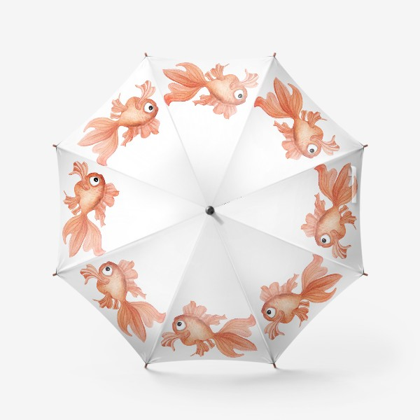 Зонт «Watercolor illustration. Goldfish of orange color on a white background»