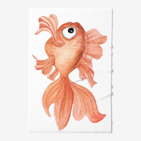 Полотенце «Watercolor illustration. Goldfish of orange color on a white background»