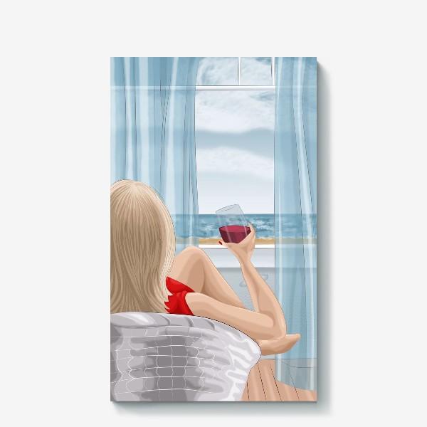 Холст «Девушка с бокалом смотрит на море»