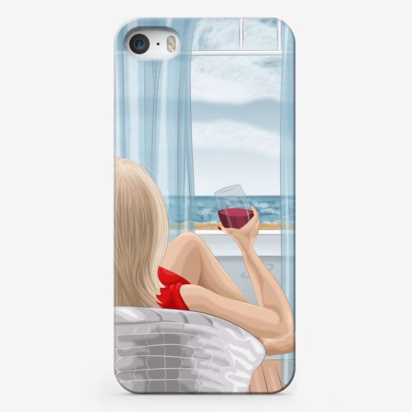Чехол iPhone «Девушка с бокалом смотрит на море»