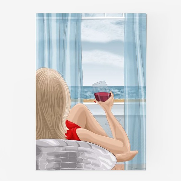 Постер «Девушка с бокалом смотрит на море»