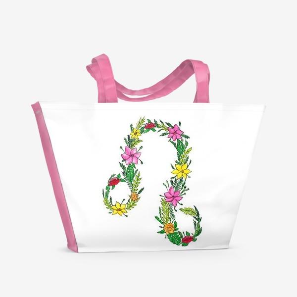 Пляжная сумка «Зодиак лев. Цветы»