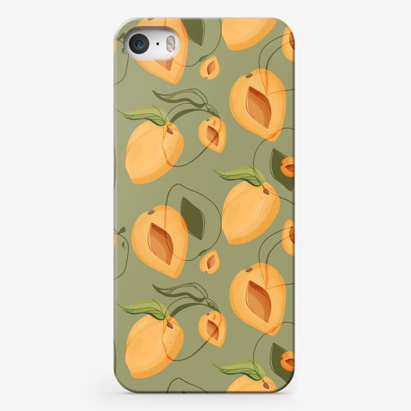 Чехол iPhone «Милые оранжевые абрикосы на зеленом фоне»