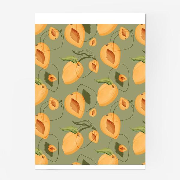 Постер «Милые оранжевые абрикосы на зеленом фоне»