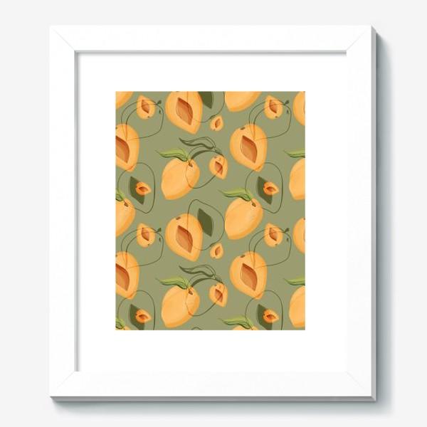 Картина «Милые оранжевые абрикосы на зеленом фоне»