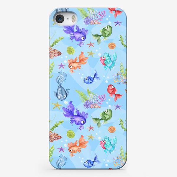 Чехол iPhone «Рыбки голубой фон.»