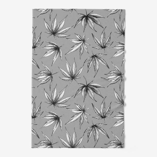 Полотенце «Монохромный узор листьев на сером фоне»