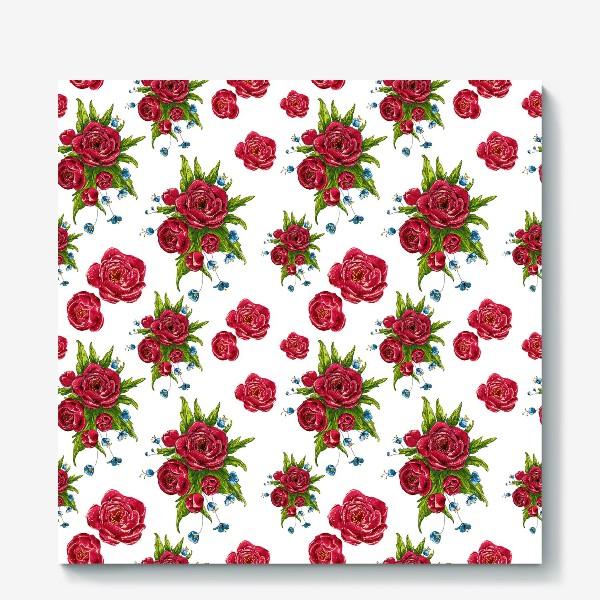 Холст «красные цвето4ки»
