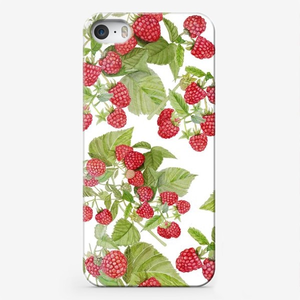 Чехол iPhone «Seamless texture Watercolor illustration of red raspberry Bush.»