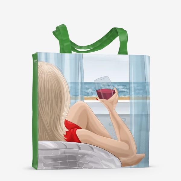Сумка-шоппер «Девушка с бокалом смотрит на море»