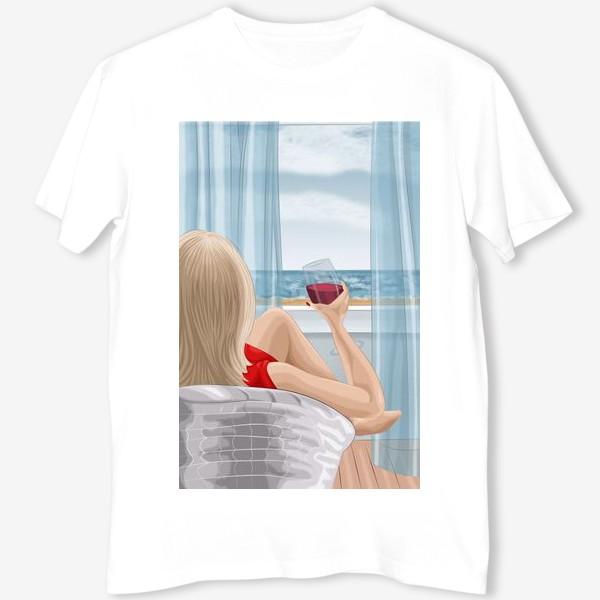 Футболка «Девушка с бокалом смотрит на море»
