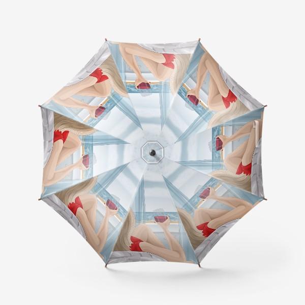 Зонт «Девушка с бокалом смотрит на море»