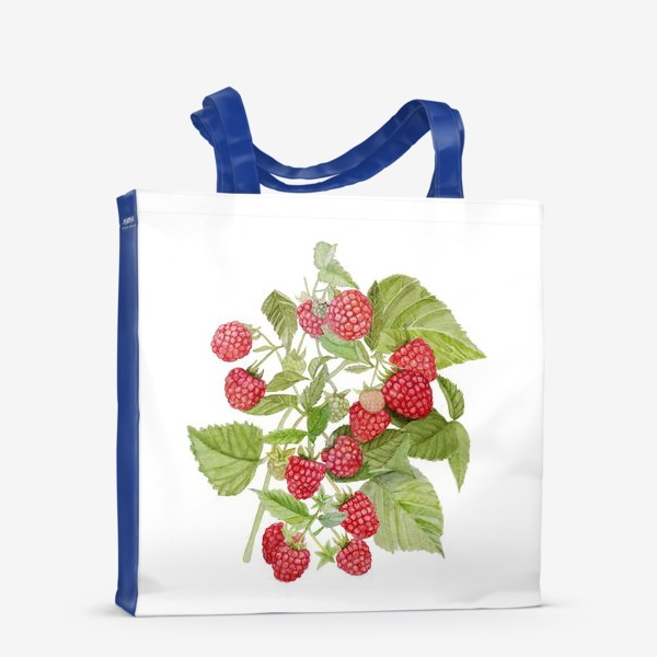 Сумка-шоппер «Watercolor illustration of red raspberry Bush.»