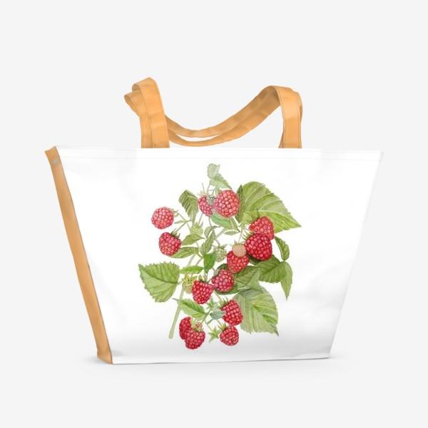Пляжная сумка «Watercolor illustration of red raspberry Bush.»