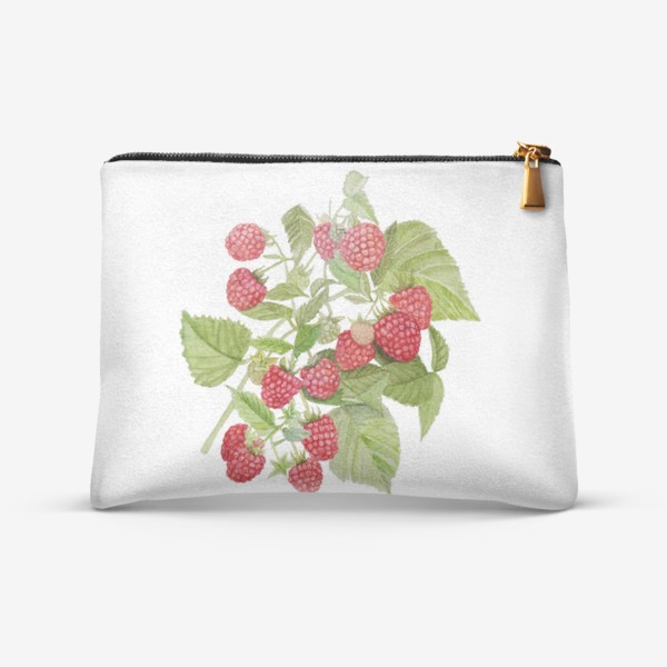 Косметичка «Watercolor illustration of red raspberry Bush.»