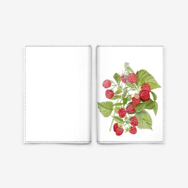 Обложка для паспорта «Watercolor illustration of red raspberry Bush.»