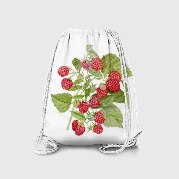 Рюкзак «Watercolor illustration of red raspberry Bush.»
