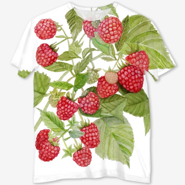 Футболка с полной запечаткой «Watercolor illustration of red raspberry Bush.»