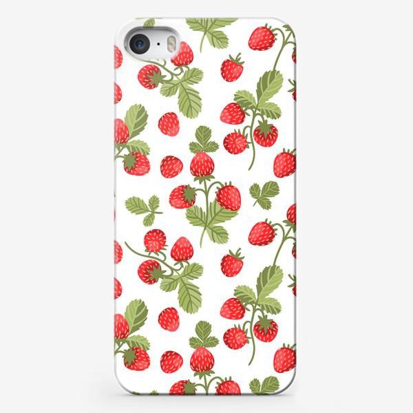 Чехол iPhone «Земляника, паттерн на белом фоне»