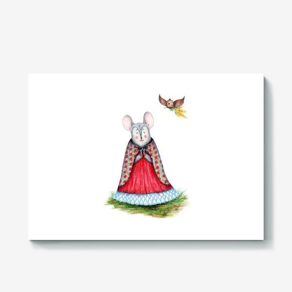 Холст «Мышка и птица»