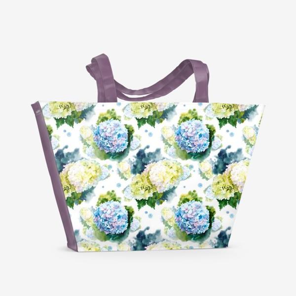 Пляжная сумка «паттерн с гортензиями»