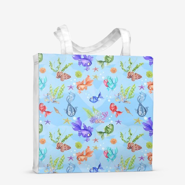 Сумка-шоппер «Рыбки голубой фон.»