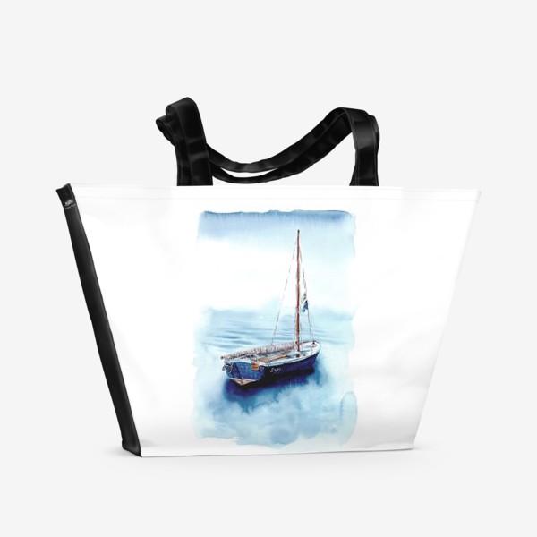 Пляжная сумка «Лодка уходит в море»