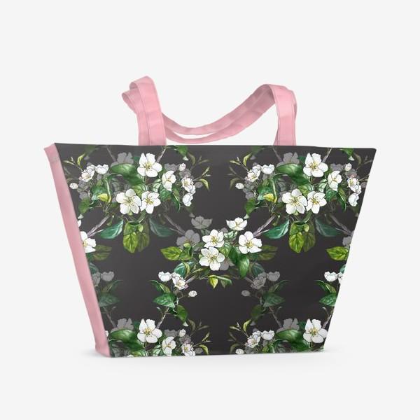 Пляжная сумка «паттерн с цветущей яблоней»