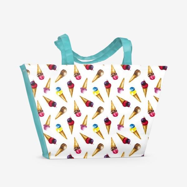 Пляжная сумка «Фруктовое мороженое коллаж»