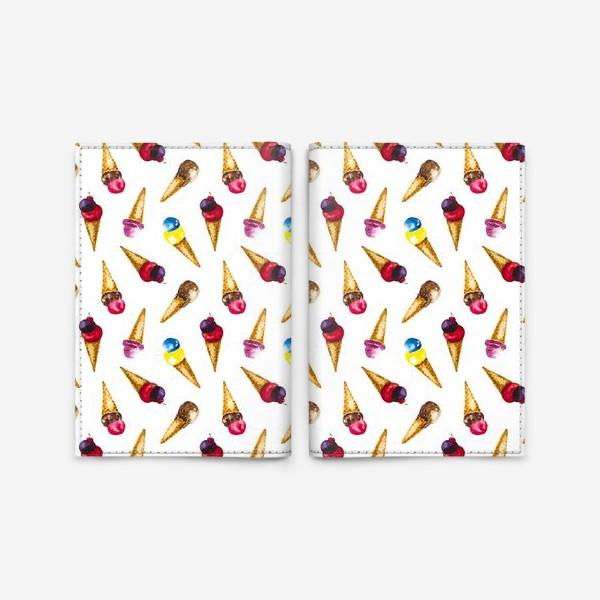Обложка для паспорта «Фруктовое мороженое коллаж»