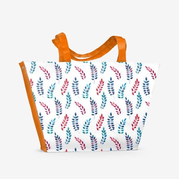 Пляжная сумка «Разноцветные акварельные веточки»
