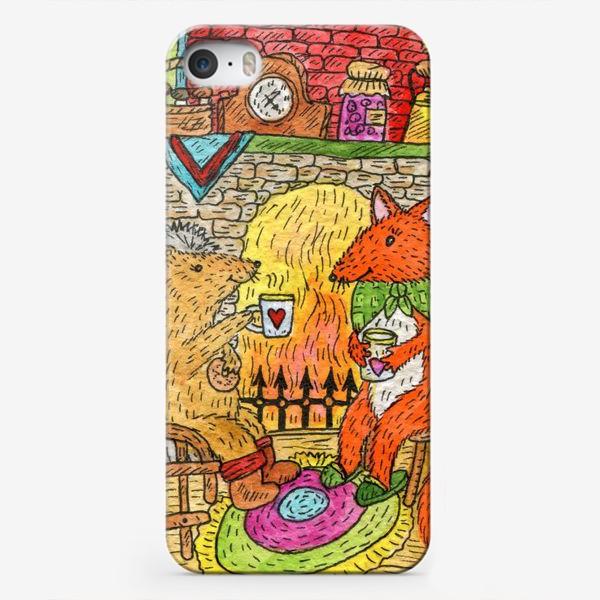 Чехол iPhone «Уютное чаепитие у камина»