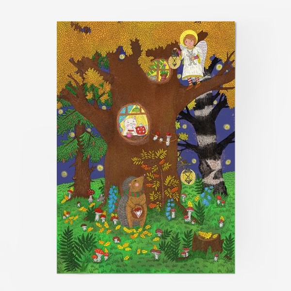 Постер «Маленький ёжик в сказочном лесу»