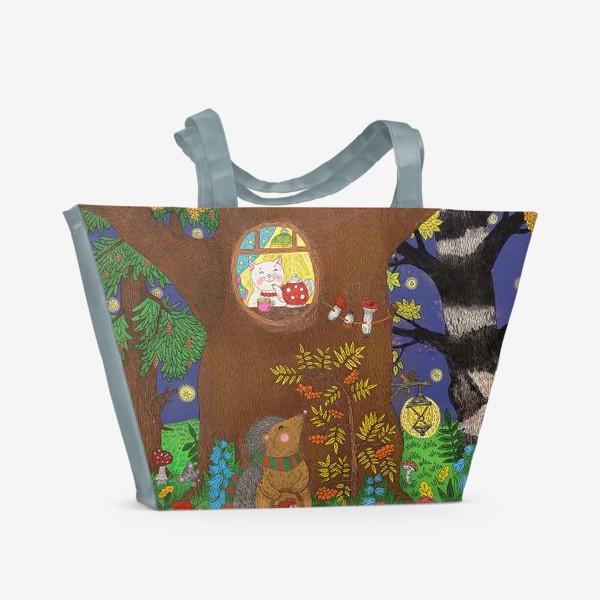 Пляжная сумка «Маленький ёжик в сказочном лесу»