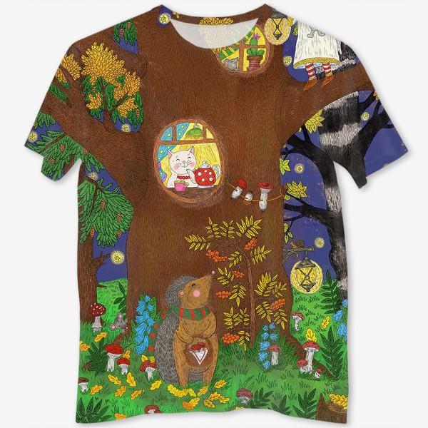 Футболка с полной запечаткой «Маленький ёжик в сказочном лесу»