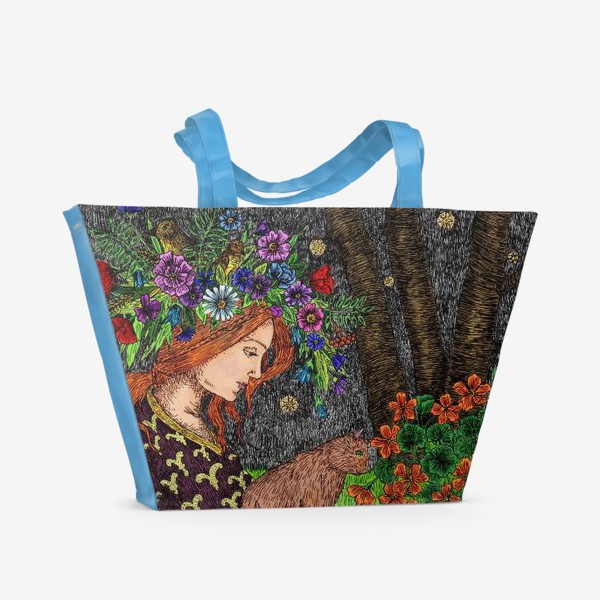 Пляжная сумка «Летняя ночь в старом саду»