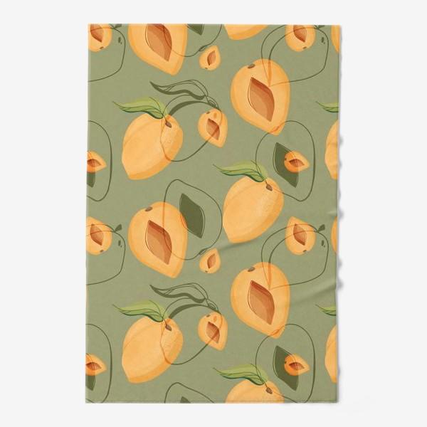 Полотенце «Милые оранжевые абрикосы на зеленом фоне»