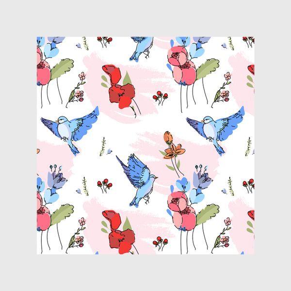 Шторы «Яркие синие птички среди цветов»