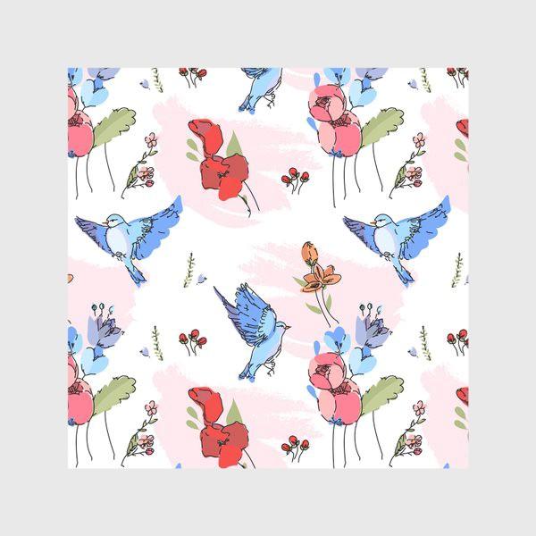 Скатерть «Яркие синие птички среди цветов»