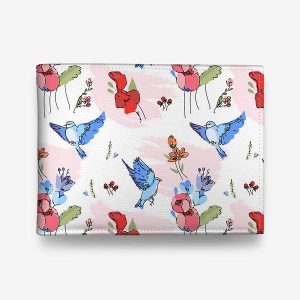 Кошелек «Яркие синие птички среди цветов»