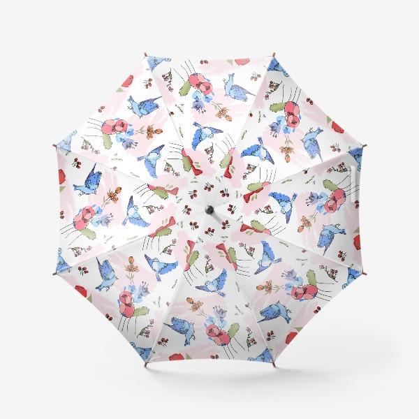 Зонт «Яркие синие птички среди цветов»