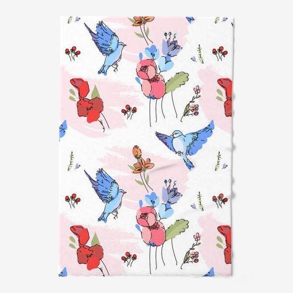 Полотенце «Яркие синие птички среди цветов»