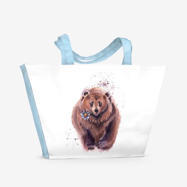 Пляжная сумка «мишка с ромашкой»